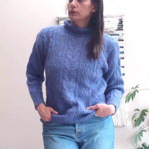 Blue Mohair Turtleneck Sweater Vintage S